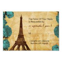 aqua vintage eiffel tower wedding rsvp 3.5 x 5 card