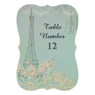 Aqua Vintage Paris Parisian Reception Table Number