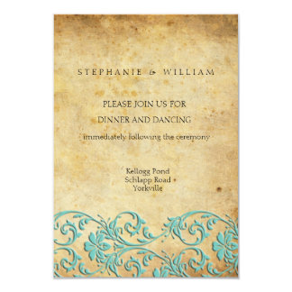 Aqua Vintage Swirl Damask Wedding Reception Card