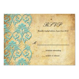 Aqua Vintage Swirl Damask Wedding RSVP Card