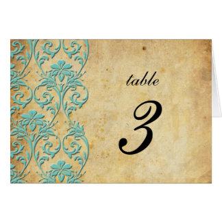 Aqua Vintage Swirl Damask Wedding Table Number Cards