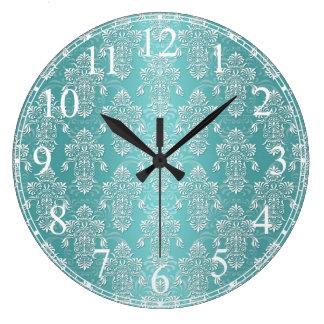 Aqua Vintage Teal Damask Pattern Large Clock