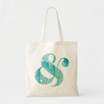 heartlocked Aqua Watercolor Ampersand Tote Bag