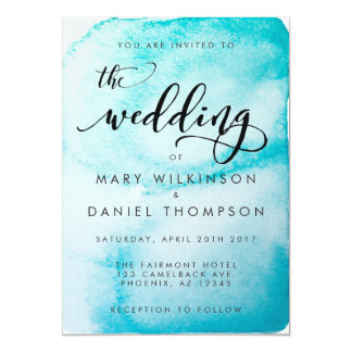 Aqua Watercolor Background Wedding Invitation