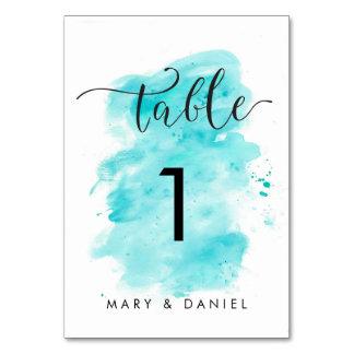 Aqua Watercolor Background Wedding Table Number