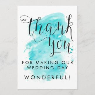 Aqua Watercolor Background Wedding Thank You Card