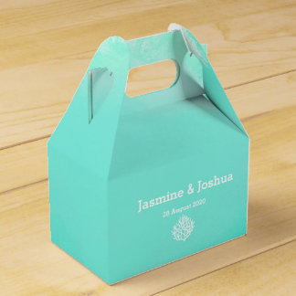 Aqua  watercolor  beach  coral reef wedding favor box