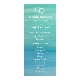 Aqua watercolor beach wedding ceremony program