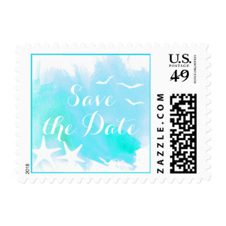 Aqua watercolor beach wedding Save the Date Postage