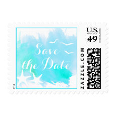 Aqua watercolor beach wedding Save the Date Postage Stamps