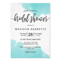 Aqua Watercolor Brush Bridal Shower Invitation