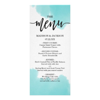 Aqua Watercolor Brush Strokes Wedding Menu