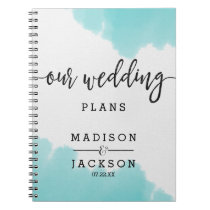 Aqua Watercolor Brush Strokes Wedding Planner Notebook