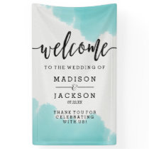 Aqua Watercolor Brush Strokes Wedding Welcome Banner