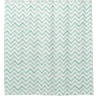 Aqua Chevron Pattern Shower Curtains | Zazzle