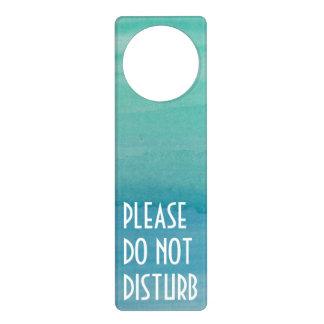 Aqua watercolor door hanger   Do not disturb sign