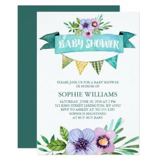 Aqua Watercolor Floral Baby Shower Card