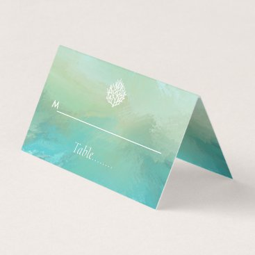 Beach Themed Aqua watercolor mint green  coral reef beach place card