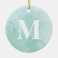 Aqua watercolor monogram photo ornament