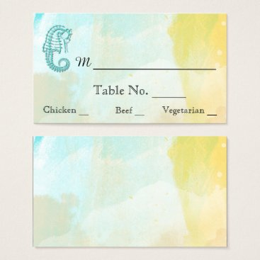 Beach Themed Aqua Watercolor Seahorse Beach Wedding Place Cards