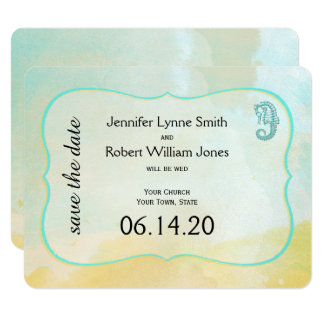 Aqua Watercolor Seahorse Wedding Save the Date Card