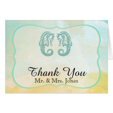 Beach Themed Aqua Watercolor Seahorse Wedding Thank You Card