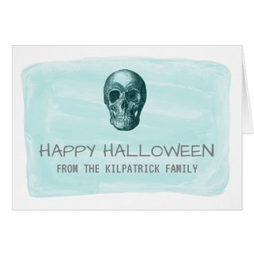 Halloween Themed Aqua Watercolor Skull Halloween Greeting Card