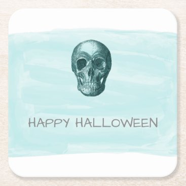 Halloween Themed Aqua Watercolor Skull Halloween Paper Coasters