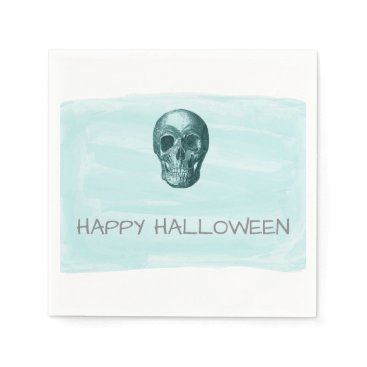 Halloween Themed Aqua Watercolor Skull Halloween Paper Napkins