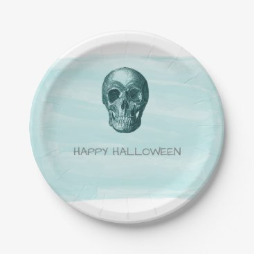 Halloween Themed Aqua Watercolor Skull Halloween Paper Plates