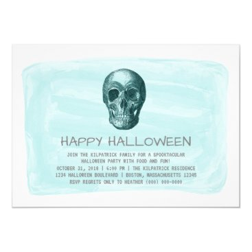 Halloween Themed Aqua Watercolor Skull Halloween Party Invite