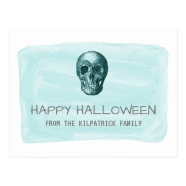Halloween Themed Aqua Watercolor Skull Halloween Postcard