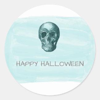 Aqua Watercolor Skull Halloween Stickers