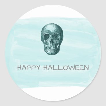 Halloween Themed Aqua Watercolor Skull Halloween Stickers