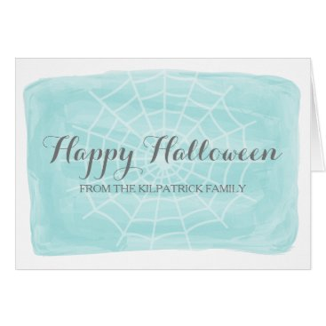 Halloween Themed Aqua Watercolor Spider Web Halloween Card