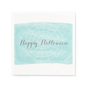 Halloween Themed Aqua Watercolor Spider Web Halloween Paper Napkin