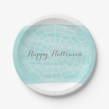 Halloween Themed Aqua Watercolor Spider Web Halloween Paper Plate