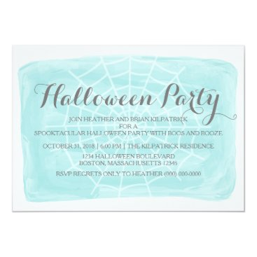 Halloween Themed Aqua Watercolor Spider Web Halloween Party Invite