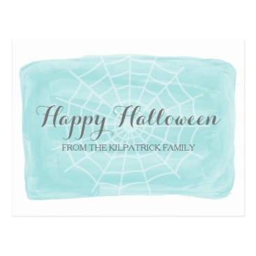 Halloween Themed Aqua Watercolor Spider Web Halloween Postcard