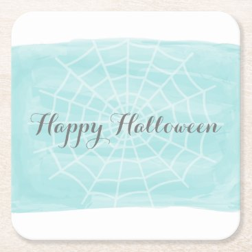Halloween Themed Aqua Watercolor Spider Web Halloween Square Paper Coaster