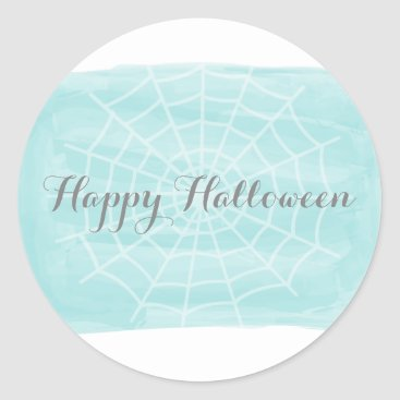 Halloween Themed Aqua Watercolor Spider Web Halloween Stickers