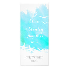 Aqua watercolor, starfish beach wedding menu custom rack card