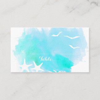 Aqua watercolor, starfish beach wedding place card