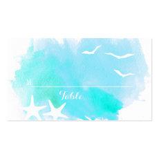 Aqua watercolor, starfish beach wedding place card business cards