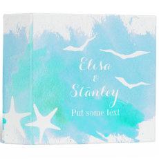 Aqua watercolor, starfish beach wedding planner binder