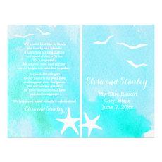 Aqua watercolor, starfish beach wedding program custom flyer