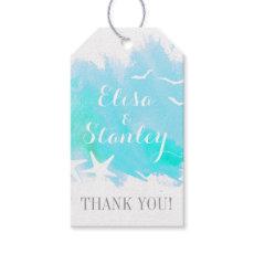Aqua watercolor, starfish beach wedding Thank You Pack Of Gift Tags