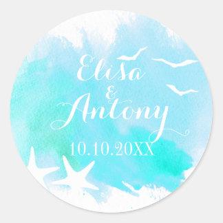 Aqua watercolor, starfish wedding Save the Date Classic Round Sticker