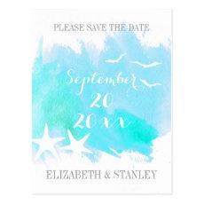 Aqua watercolor, starfish wedding Save the Date Postcard