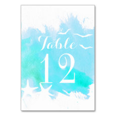 Aqua watercolor, starfish wedding table number table cards
